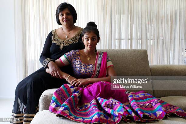 Fijian Indian Shalini Pratap with daughter Vineesha Veer wear traditional Indian clothing at their home on January 27 2017 in Tamworth Australia...