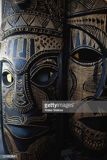 fijian masks for sale, nadi, viti levu - pazifikinseln stock-fotos und bilder
