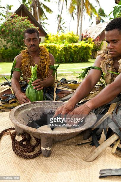 Fijian Men Preparing Traditional Kava Drink