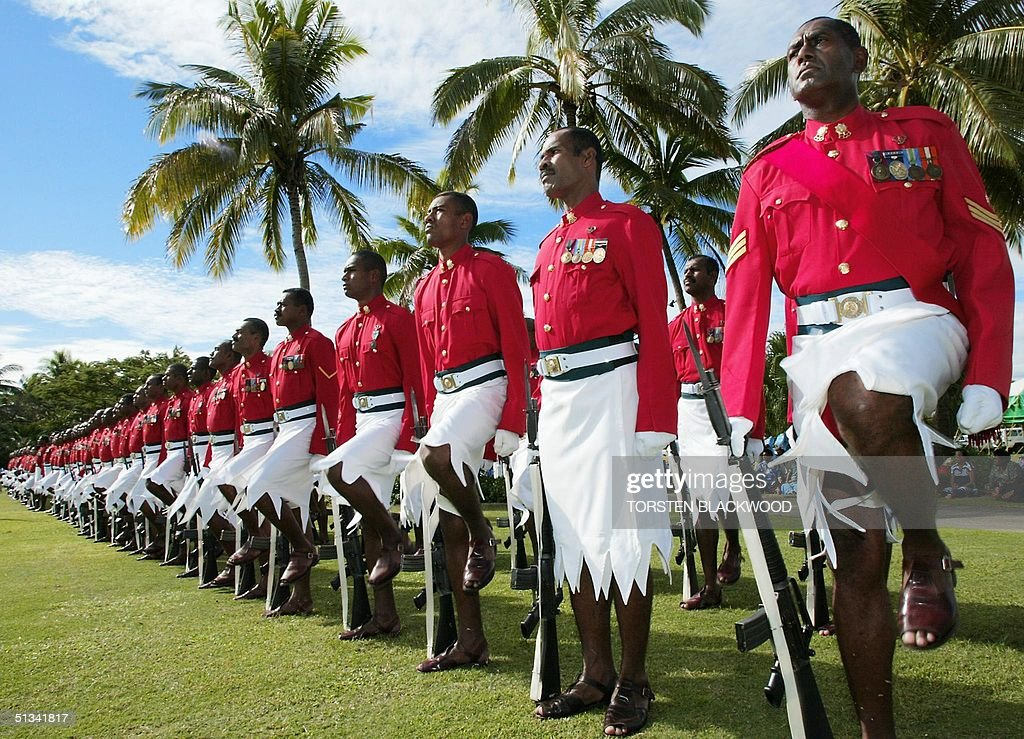 Fijian military police wearing traditional sulus f : News Photo