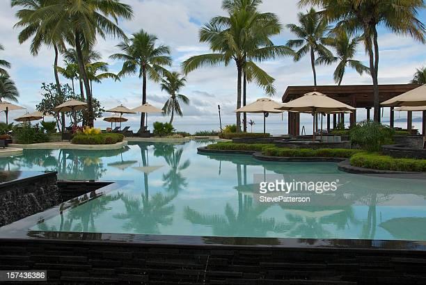 fijian pool at resort - fiji stock pictures, royalty-free photos & images