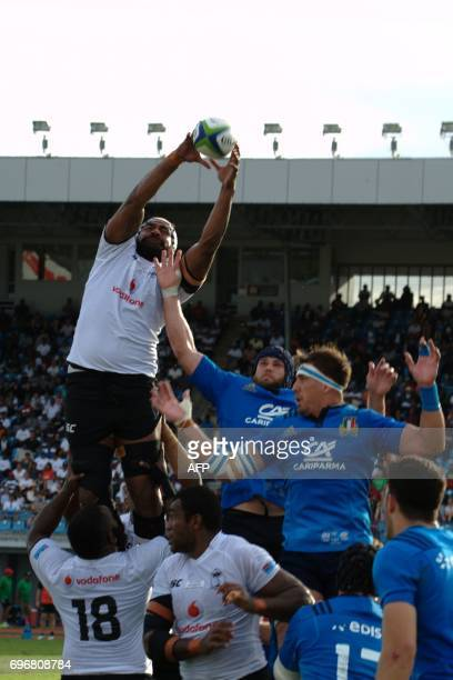 Fiji's Domoniko Waqanibarotu wins the lineout during their international rugby test match between Fiji and Italy in Suva on June 17 2017 Fiji...