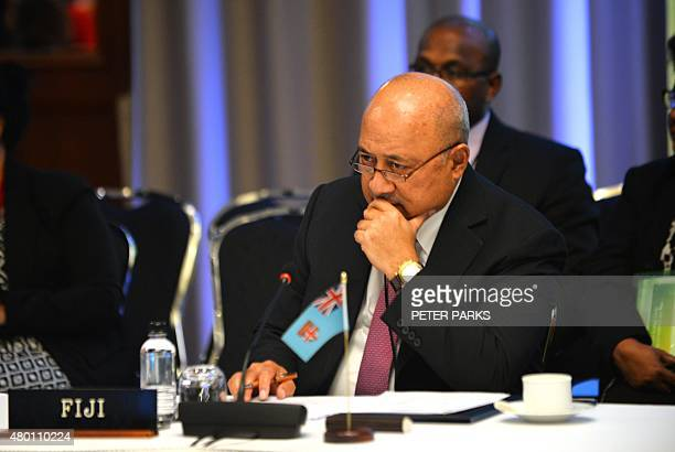 Fiji's Foreign Minister Ratu Inoke Kubuabola attends the Pacific Islands Forum Foreign Ministers Meeting in Sydney on July 10 2015 Representatives...