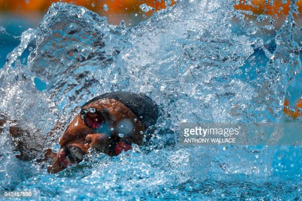 TOPSHOT Fiji's Matelita Buadromo competes during the swimming women's 50m freestyle qualifications during the 2018 Gold Coast Commonwealth Games at...