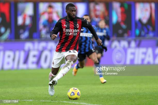 Fikayo Tomori of Ac Milan in action during the Coppa Italia match between Fc Internazionale and Ac Milan. Fc Internazionale wins 2-1 over Ac Milan.