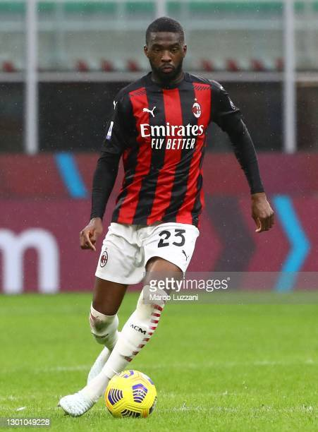 Fikayo Tomori of AC Milan in action during the Serie A match between AC Milan and FC Crotone at Stadio Giuseppe Meazza on February 07, 2021 in Milan,...