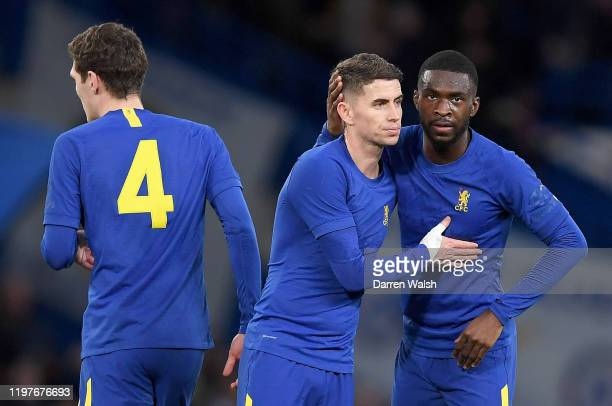 Fikayo Tomori of Chelsea and Jorginho celebrate at fulltime after the FA Cup Third Round match between Chelsea and Nottingham Forest at Stamford...