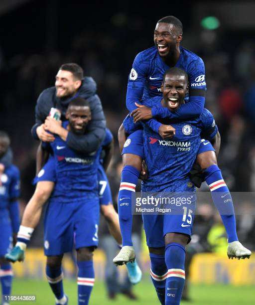 Fikayo Tomori of Chelsea and Kurt Zouma of Chelsea celebrate victory during the Premier League match between Tottenham Hotspur and Chelsea FC at...