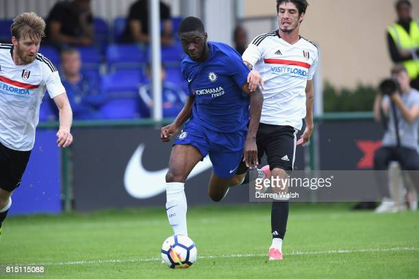 Fikayo Tomori of Chelsea and Lucas Piazon of Fulham during a friendly match between Chelsea and Fulham at Chelsea Training Ground on July 15 2017 in...