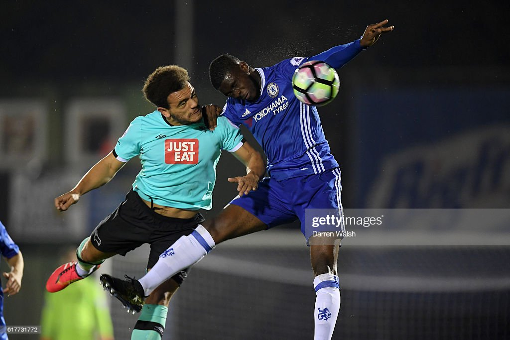 Fikayo Tomori (R) of Chelsea and Mason Bennett of Derby County during a Premier League 2 match between Chelsea and Derby County at The EBB Stadium on October 24, 2016 in Aldershot, England.