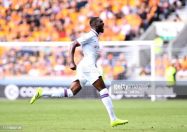 Fikayo Tomori of Chelsea celebrates after scoring his team's first goal during the Premier League match between Wolverhampton Wanderers and Chelsea...