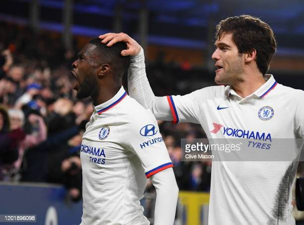Fikayo Tomori of Chelsea celebrates after scoring his team's second goal with teammate Marcos Alonso during the FA Cup Fourth Round match between...