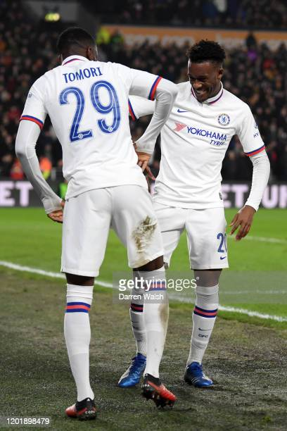Fikayo Tomori of Chelsea celebrates after scoring his team's second goal with teammate Callum HudsonOdoi during the FA Cup Fourth Round match between...