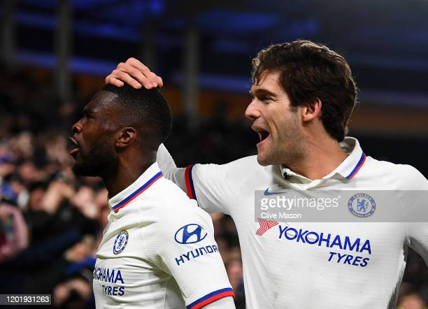 Fikayo Tomori of Chelsea celebrates after scoring his team's second goal during the FA Cup Fourth Round match between Hull City and Chelsea at KCOM...