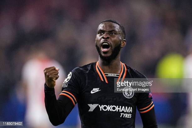 Fikayo Tomori of Chelsea celebrates after winning Ajax during the UEFA Champions League group H match between AFC Ajax and Chelsea FC at Amsterdam...