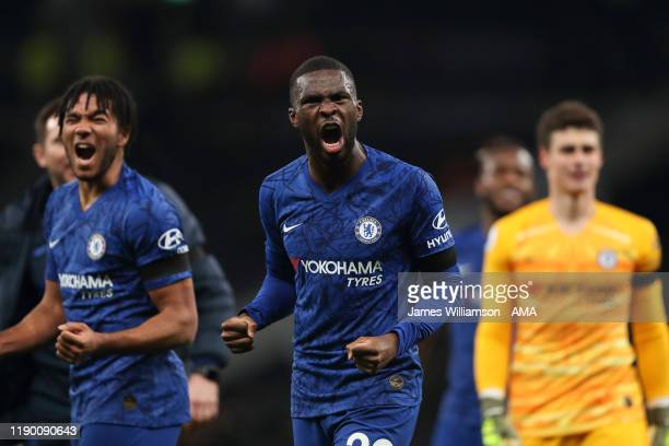 Fikayo Tomori of Chelsea celebrates at full time of the Premier League match between Tottenham Hotspur and Chelsea FC at Tottenham Hotspur Stadium on...
