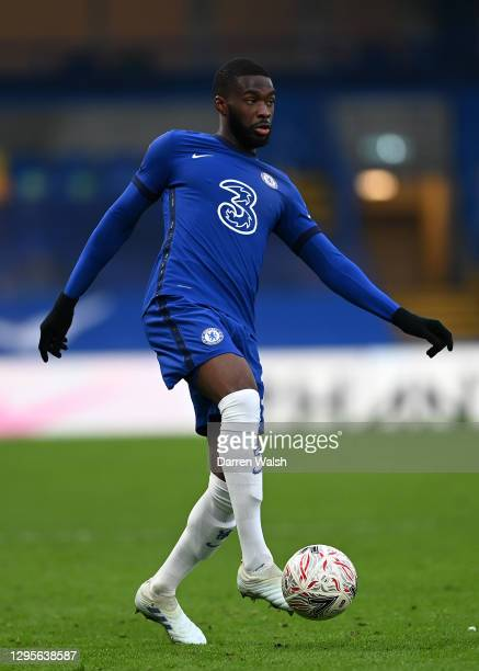 Fikayo Tomori of Chelsea controls the ball during the FA Cup Third Round match between Chelsea and Morecambe at Stamford Bridge on January 10, 2021...