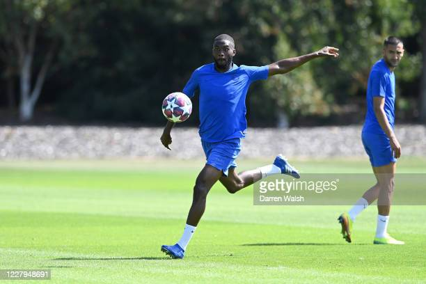 Fikayo Tomori of Chelsea during a training session at Chelsea Training Ground on August 7 2020 in Cobham England