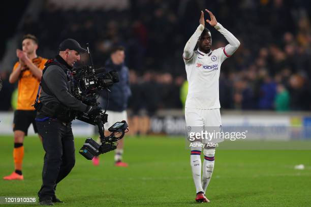 Fikayo Tomori of Chelsea FC applauds the away supporters after the FA Cup Fourth Round match between Hull City and Chelsea at KCOM Stadium on January...