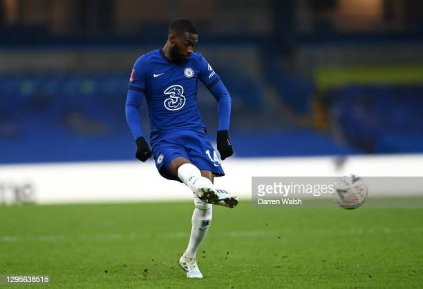 Fikayo Tomori of Chelsea passes the ball during the FA Cup Third Round match between Chelsea and Morecambe at Stamford Bridge on January 10, 2021 in...
