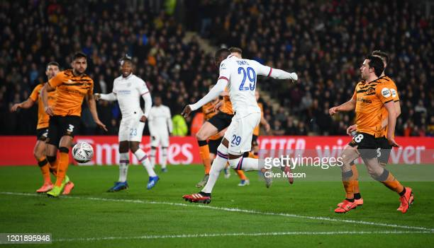 Fikayo Tomori of Chelsea scores his team's second goal during the FA Cup Fourth Round match between Hull City FC and Chelsea FC at KCOM Stadium on...