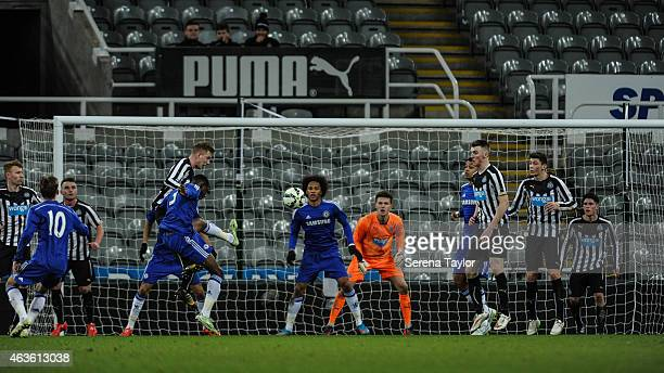 Fikayo Tomori of Chelsea wins a header over Callum Williams during the FA Youth Cup Sixth Round match between Newcastle United and Chelsea at St...