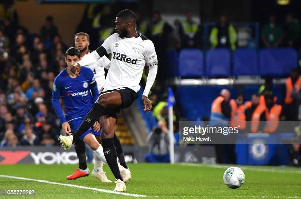 Fikayo Tomori of Derby County scores an own goal during the Carabao Cup Fourth Round match between Chelsea and Derby County at Stamford Bridge on...