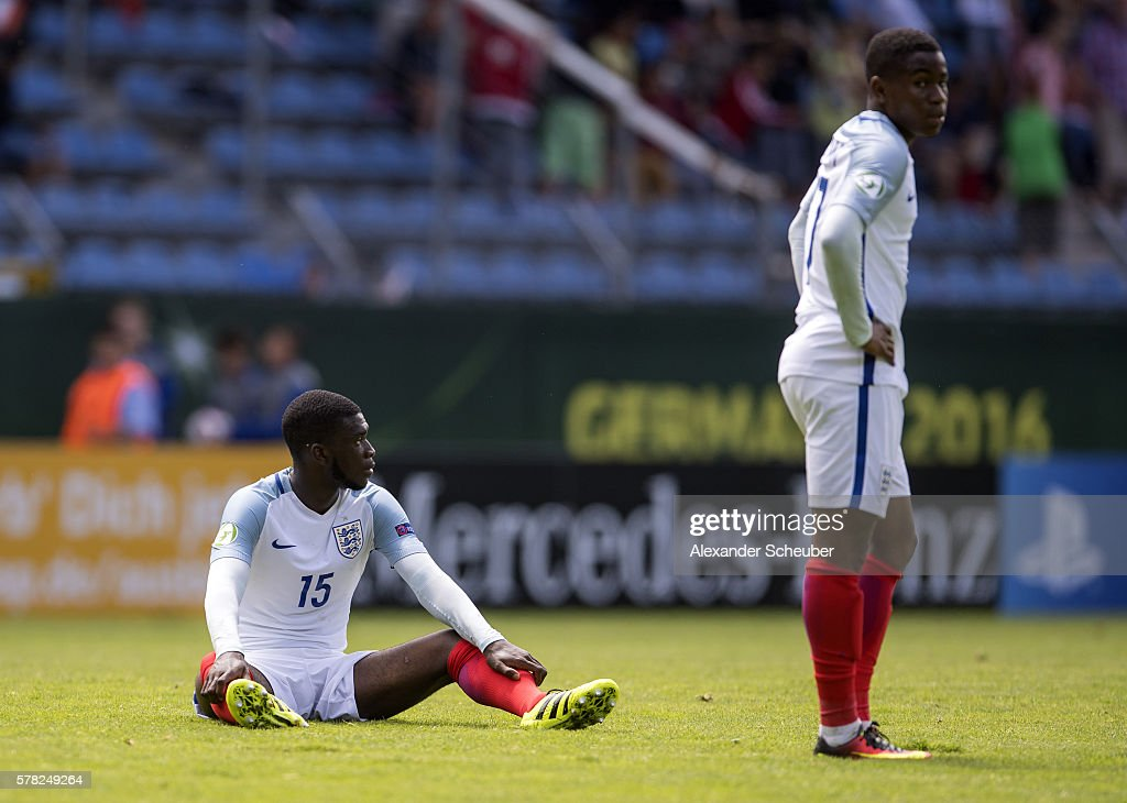 Fikayo Tomori of England and Ademola Lookman are disappointed during the U19 Match between England and Italy at Carl-Benz-Stadium on July 21, 2016 in Mannheim, Germany.