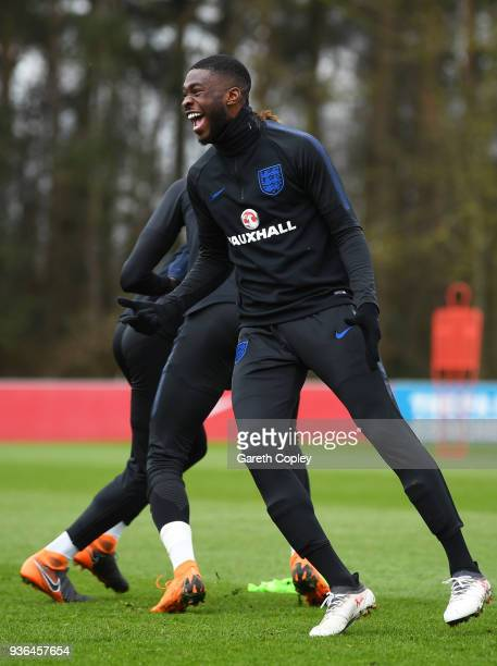 Fikayo Tomori reacts during an England U21 training session at St Georges Park on March 22 2018 in BurtonuponTrent England England are due to face...