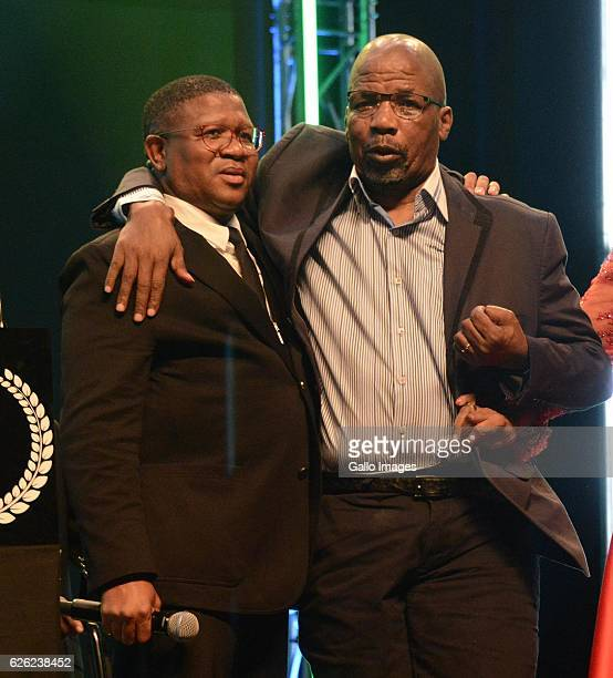 Fikile Mbalula and boxing promoter Mzimasi Mnguni during the SA Sports Awards on November 27 2016 in Bloemfontein South Africa The 2016 SA Sport...