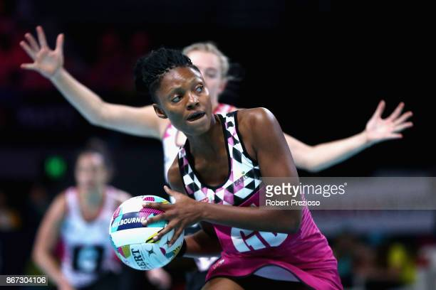 Fikile Mkhuzangwe of South Africa looks to make a pass during the Fast5 World Series Netball match between New Zealand and South Africa at Hisense...