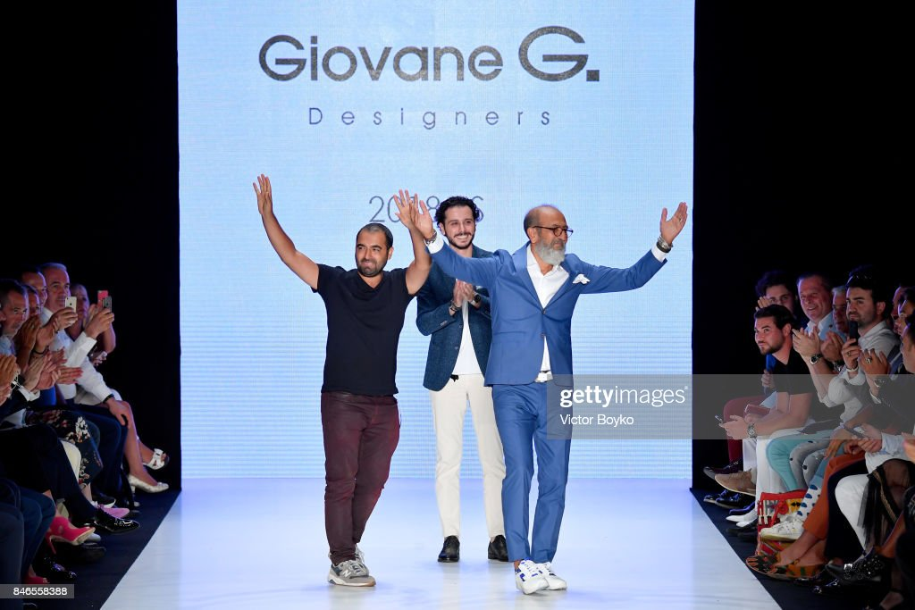 Fikri Temel , Deniz Senoglu and Tulug Ozgur are applauded on the runway at the Giovane Gentile show during Mercedes-Benz Istanbul Fashion Week September 2017 at Zorlu Center on September 13, 2017 in Istanbul, Turkey.