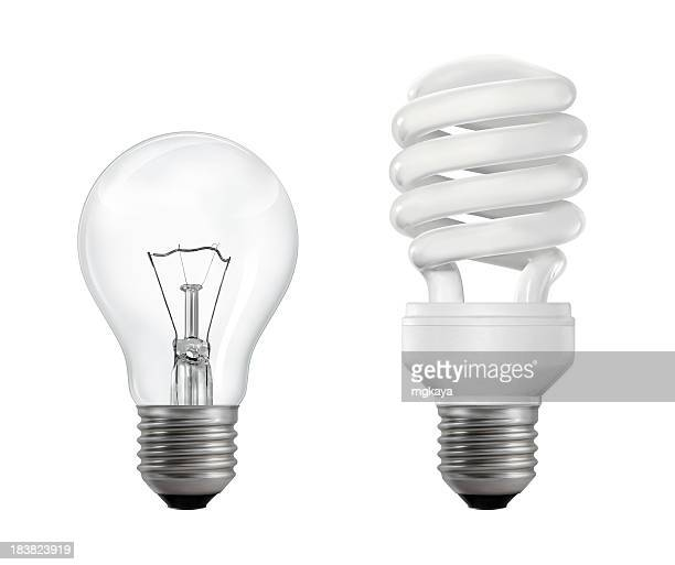 filament and fluorescent lightbulbs - fluorescent light stock pictures, royalty-free photos & images