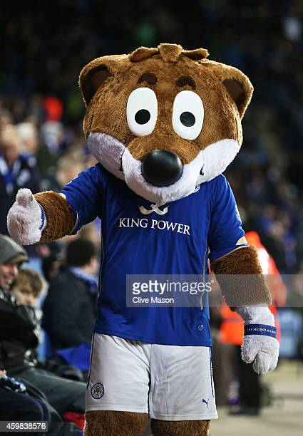 Filbert Fox the Leicester City mascot entertains the crowd during the Barclays Premier League match between Leicester City and Liverpool at The King...