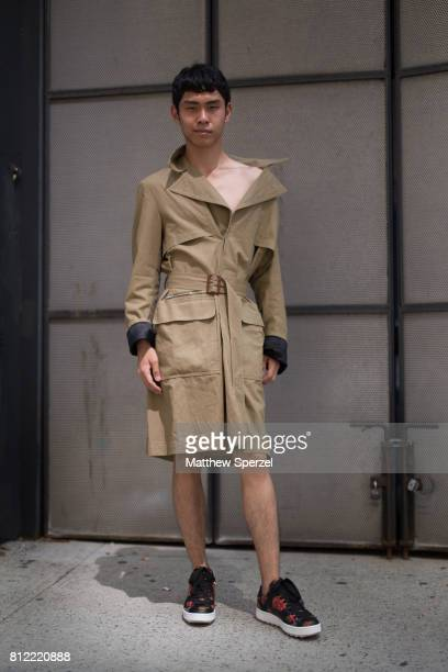 Filbert Nickolas is seen attending TEDDY ONDO ELLA during Men's New York Fashion Week wearing a trench coat by Stella McCartney and Coach shoes on...