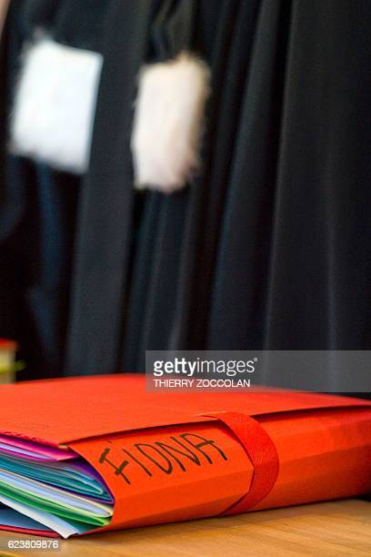 A file bearing the name 'Fiona' is pictured at the Riom courthouse near ClermontFerrand central France on November 17 during the hearing of the trial...