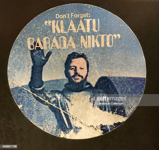 A file cabinet in the Michael Ochs Archives with a sticker of Ringo Starr that reads 'Don't Forget Klaatu Barada Nikto' which was released to promote...