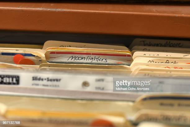 A file folder reads Moonlighters amongst other file folders in the Michael Ochs Archives on May 10 2018 in Los Angeles California