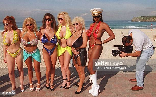 File photo dated 03 June 1996 showing Big Top Beauties Roxy Rider Tawny Peaks Jessie James Europe Dichan Lulu Devine and Cassandra Curves on Sydney's...