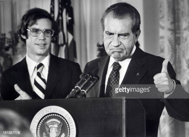 File photo dated 09 August 1974 of the 37th President of the United States Richard Nixon as he bids farewell to the White House staff At left is his...