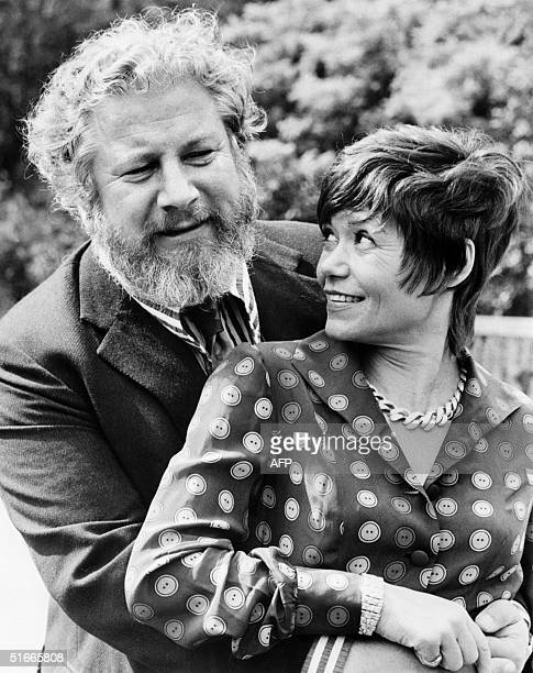 File photo dated 12 july 1972 shows Sir Peter Ustinov British actor and dramatist and his wife Helene du Lau d'Allemans in Paris during fashion week...