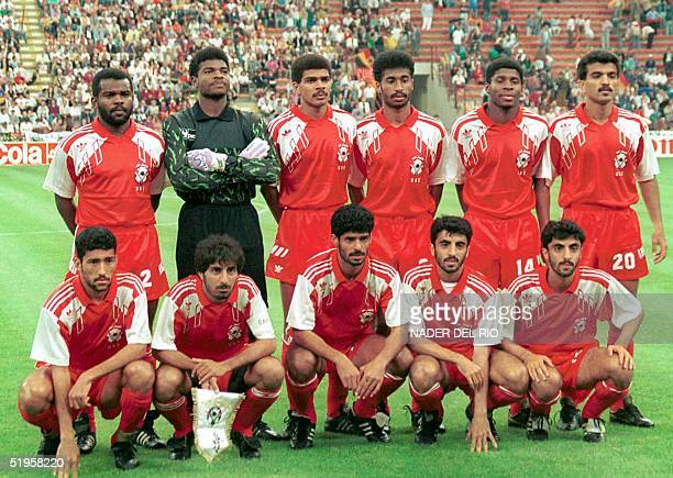 File photo dated 15 June 1990 shows United Arab Emirates national soccer team players pose for the official group picture at the Giuseppe Meazza...