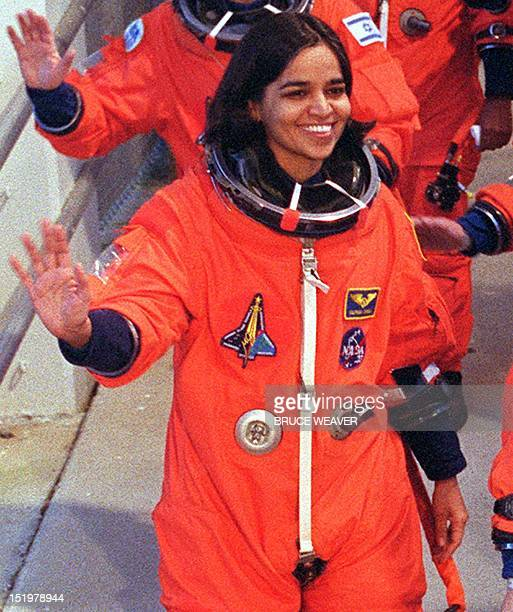 File photo dated 16 January 2003 shows US mission specialist Kalpana Chawla waving to well wishers as she leaves Kennedy Space Center's crew quarters...