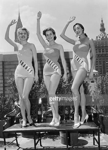 File photo dated 1954 shows Miss France, Jacqueline Beer, Miss Greece and Miss Italy.