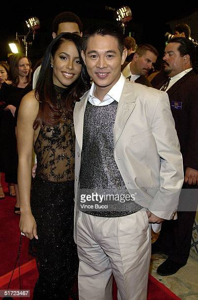 File photo dated 20 March 2000 shows Hong Kong action film star Jet Li and US recording artist Aaliyah arriving for the premiere of their new film...
