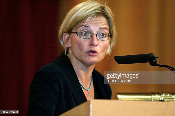File photo dated 21 August 2003 shows Swedish Foreign Minister Anna Lindh Lindh was stabbed in the arm 10 September 2003 while shopping at the NK...