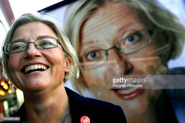 File photo dated 21 August 2003 shows Swedish Foreign Minister Anna Lindh smiling Lindh was stabbed in the arm 10 September 2003 while shopping at...