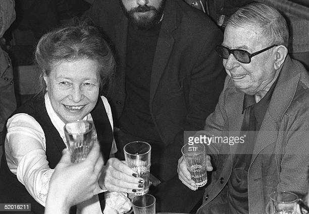 A file photo dated 21 June 1977 of French intellectuals Simone de Beauvoir and JeanPaul Sartre attending a reception for Soviet dissidents in Paris