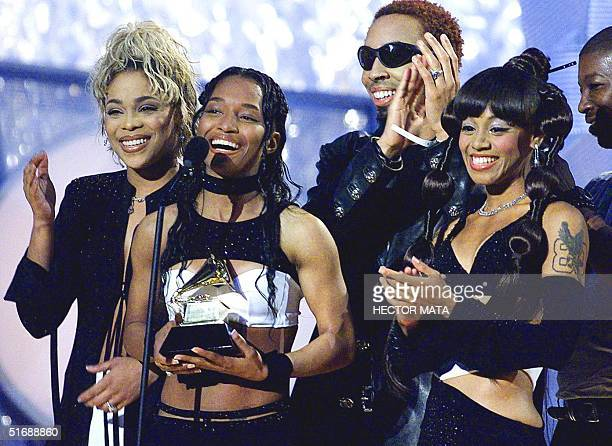 File photo dated 23 February 2000 shows members of the group TLC receiving the Grammy for the Best RB Album during the 42d Annual Grammy Awards in...