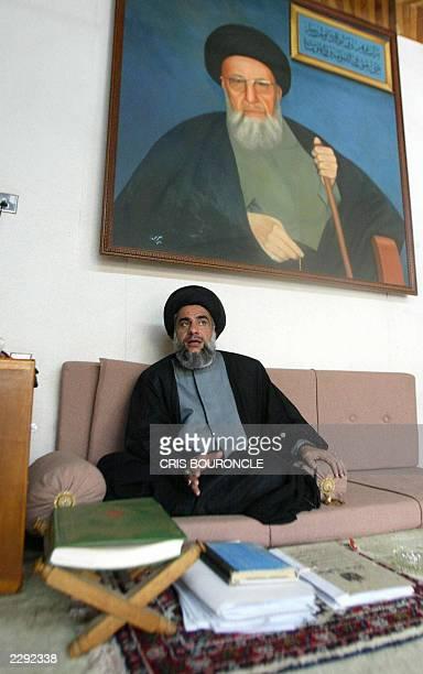File photo dated 30 May 2003 shows Iraqi Shiite Muslim Sheikh Ali Abdul Karim alMadani speaking to Agence FrancePresse at his home in Baaqubah 60...